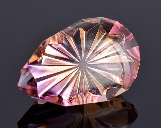 SALE! Fantastic Fantasy Cut Ametrine Gemstone from Bolivia, 22.24 cts., 25x16 mm., Radial Buff Top Pear Shape