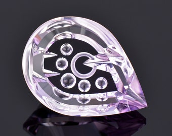 Exceptional Fantasy Cut Amethyst Gemstone from Brazil, 27.76 cts., 26x19 mm., Smooth Pear Shape
