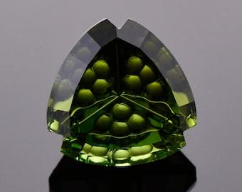 Fancy Dark Green Tourmaline Gemstone from Nigeria, 7.97 cts., 12.45 mm., Fantasy Trillion Shape