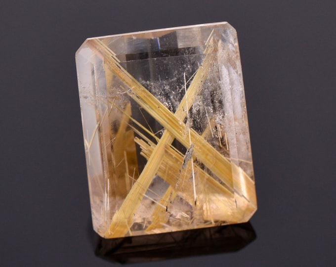 Beautiful Quartz with Rutile Inclusion Gemstone, 23.17 cts., 19x15 mm., Emerald Shape