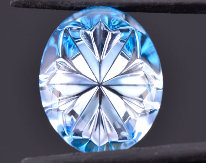 Fantastic Fantasy Cut Swiss Blue Topaz Gemstone from Brazil, 15.10 cts., 18x14 mm., Smooth Oval Shape