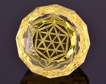 Exceptional Fantasy Cut Citrine Gemstone from Brazil, 38.28 cts., 20 mm., Hexagram Carved Round Shape