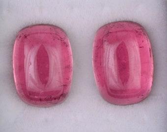Fantastic Pink Tourmaline Match Pair from California, 15.54 tcs., 14x10 mm., Cushion Shape Cabochons