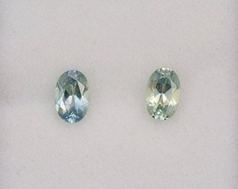 SALE! Excellent Blue Green Sapphire Gemstone Match Pair from Montana 1.10 tcw.