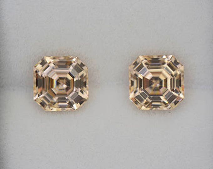 Elegant Bright Yellow Asscher Zircon Gemstone Match Pair 5.54 tcw.