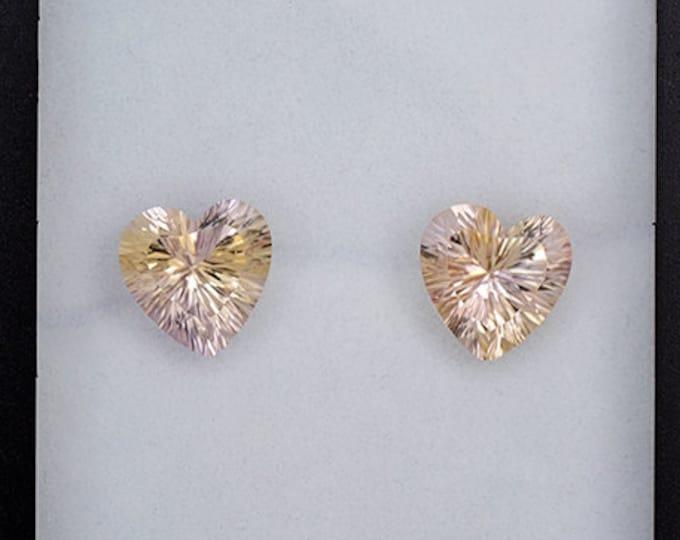 Lovely Heart Ametrine Quartz Match Gemstone Pair 6.16 tcw.