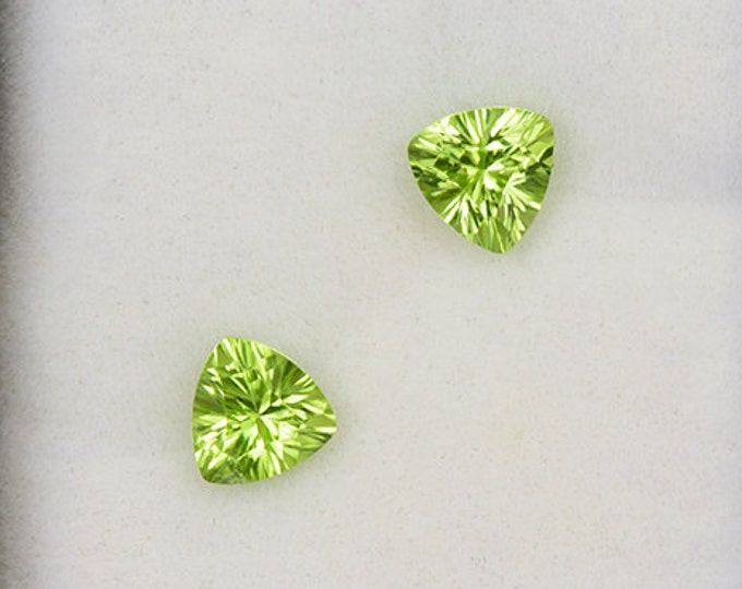Stunning Bright Green Concave Cut Peridot Match Gemstone Pair from Pakistan 1.42 tcw.