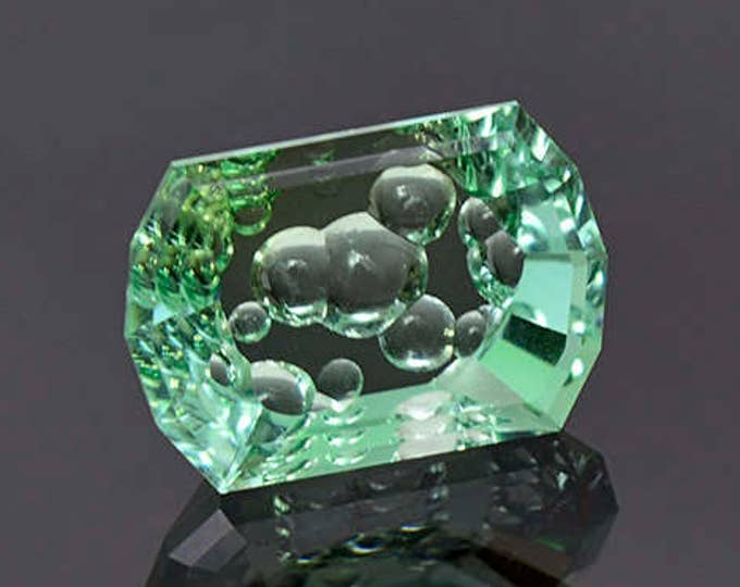 Superb Bright Mint Green Tourmaline Bubble Carved Gemstone 5.08 cts.