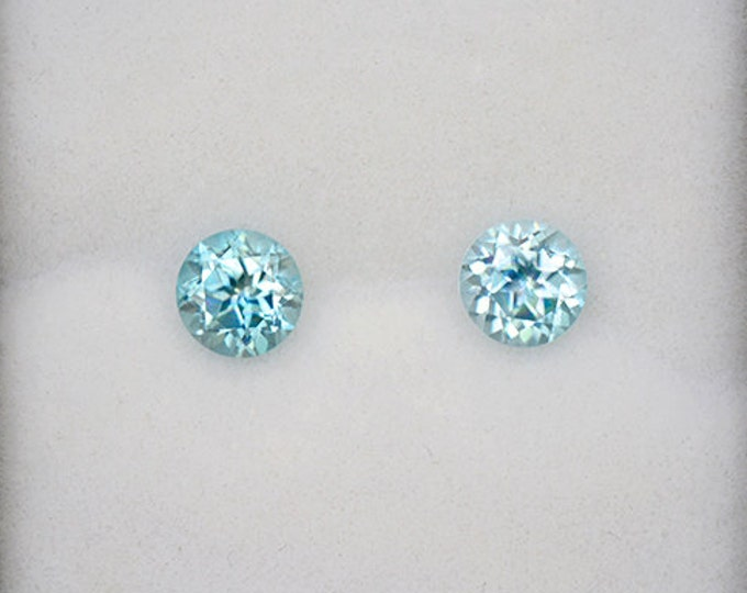Scintillating Sky Blue Zircon Match Gemstone Pair from Cambodia 1.74 tcw.