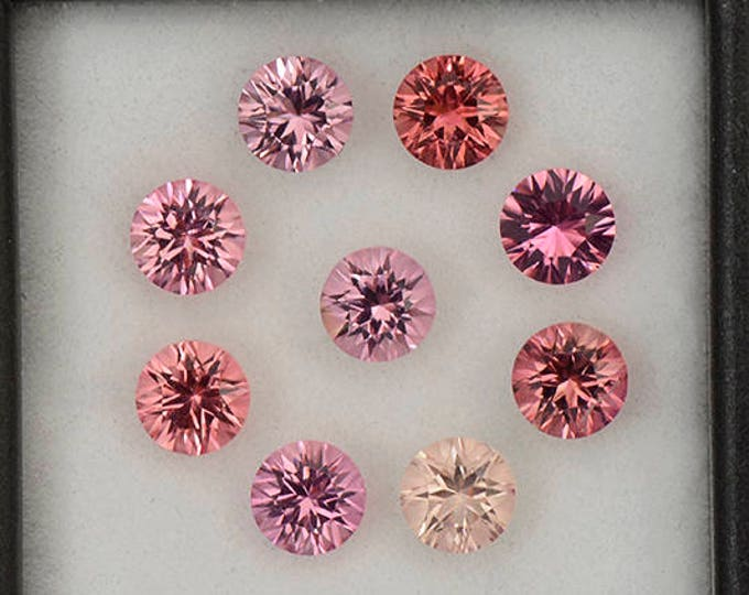 Excellent Concave Cut Round Pink Tourmaline Gemstone Set 4.85 tcw.