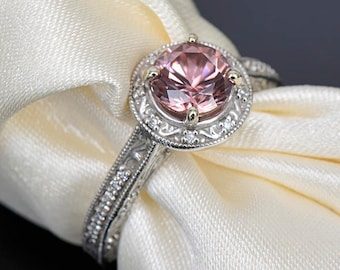 SALE! Gorgeous Rose Pink Zircon and Diamond Scroll Ring in 14kt White Gold 1.95 tcw.