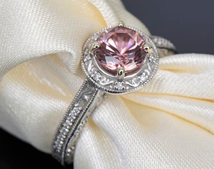 Gorgeous Rose Pink Zircon and Diamond Scroll Ring in 14kt White Gold 1.95 tcw.