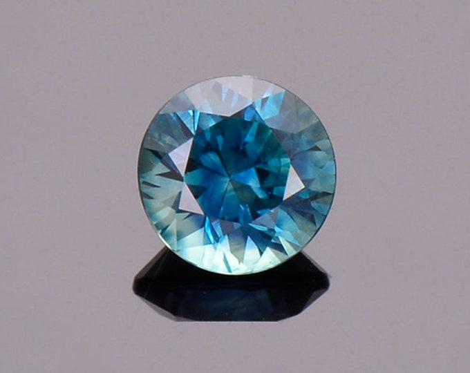 Fantastic Blue Green Sapphire Gemstone from Montana, Round, 0.86 cts., 5.5 mm.