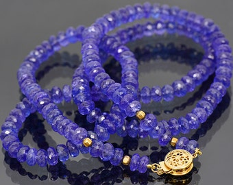 SALE! Breathtaking Faceted Tanzanite Bead Necklace with 14 kt Yellow Gold Clasp 196.0 cts.