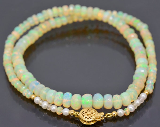 Excellent Faceted Opal Bead Necklace with 14 kt Yellow Gold Clasp 68.0 cts.
