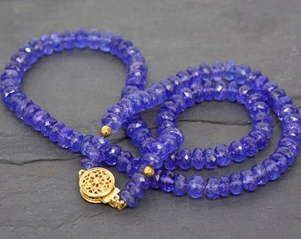 SALE! Fantastic Faceted Tanzanite Bead Necklace with 14 kt Yellow Gold Clasp 113.0 cts.