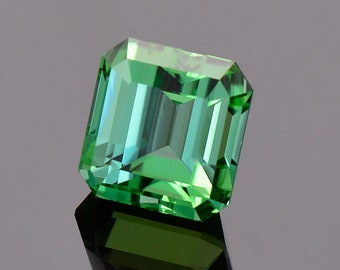 SALE! Spectacular Green Blue Tourmaline Gemstone from Namibia, 3.97 cts, 8.4 x 8.0 mm, Step Emerald Shape.