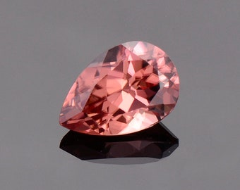 SALE! Exquisite Peachy Pink Zircon Gemstone from Tanzania, 2.14 cts., 8.9 x 6.0 mm., Pear Shape