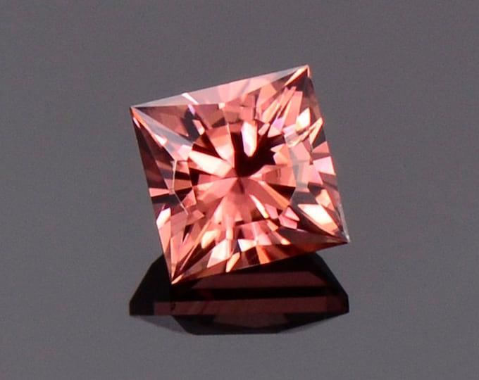 Brilliant Peachy Pink Zircon Gemstone from Tanzania, 1.41 cts., 5.2 mm., Custom Square Brilliant Cut