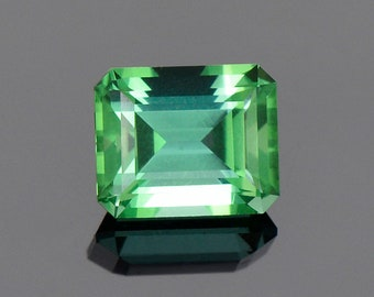 Exquisite Green Blue Tourmaline Gemstone from Namibia, 2.32 cts, 8.2 x 6.7 mm, Step Emerald Shape