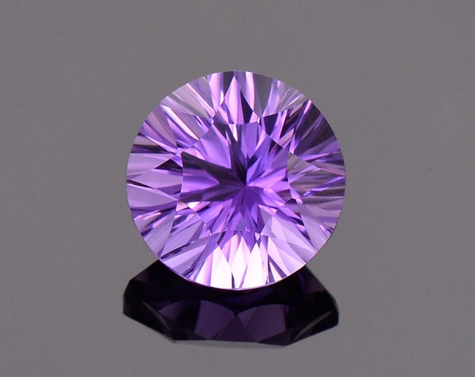 Gorgeous Bright Purple Amethyst Gemstone from Bolivia, 3.37 cts., 10 mm., Concave Round Cut