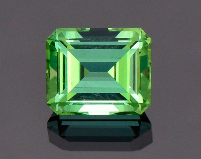 Fabulous Green Blue Tourmaline Gemstone from Namibia, 2.23 cts, 8.0 x 6.7 mm, Step Emerald Shape