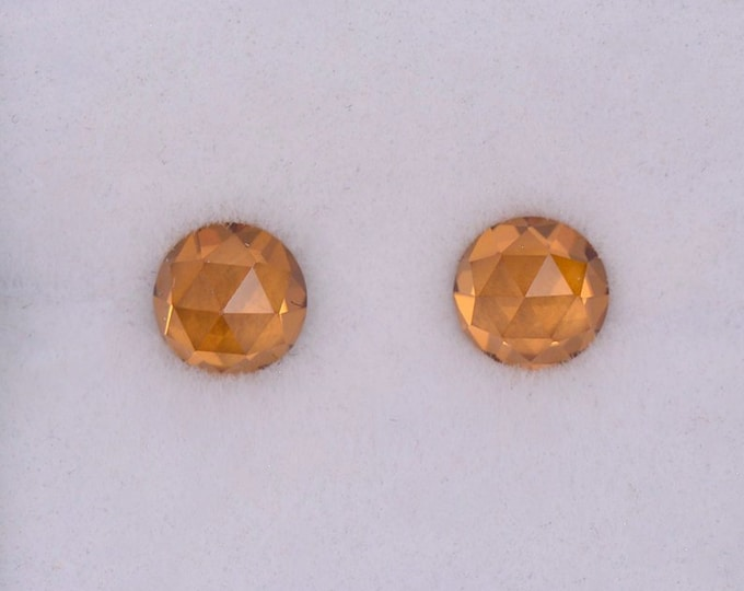 Gorgeous Bright Orange Zircon Gemstone Match Pair, 1.76 tcw., 5.0 mm., Dutch Rose Cut