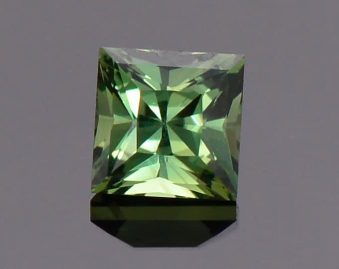 Gorgeous Green Sapphire Gemstone from Tanzania, 1.02 cts., 4.9 mm., Princess Cut.