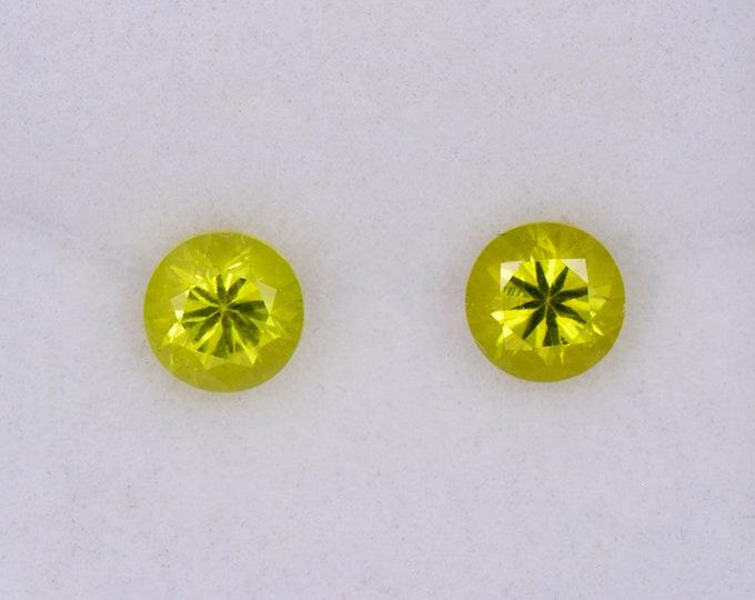Lovely Bright Yellow Chrysoberyl Match Gemstone Pair from Sri Lanka, 1.28 tcw., 5.1 mm., Round Brilliant Cut