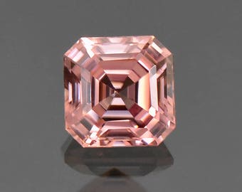 SALE! Excellent Pink Champagne Zircon Asscher Cut Gemstone, 6.6 mm., 2.31 cts.