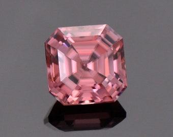 Radiant Bright Pink Zircon Gemstone from Tanzania, 2.39 cts., 6.65 mm., Asscher Cut