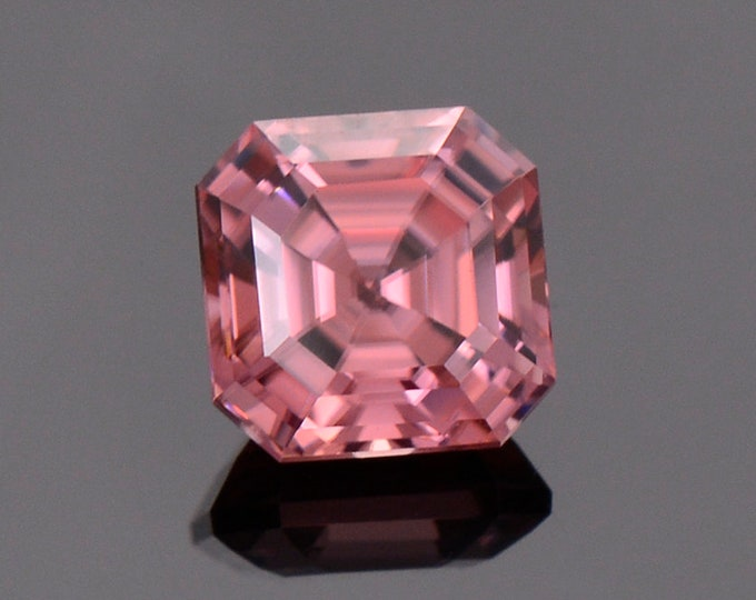 Radiant Bright Pink Zircon Gemstone from Tanzania, 2.39 cts., 6.65 mm., Asscher Cut