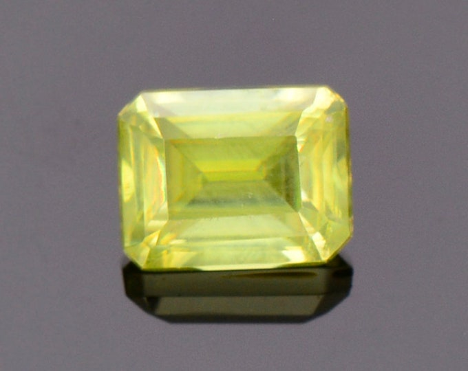 Lovely Yellow Green Sphene Titanite Gemstone from Zimbabwe, 1.29 cts., 6.6 x 5.2 mm., Emerald Shape