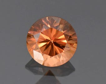 SALE! Excellent Peachy Orange Zircon Gemstone from Tanzania, 6.75 mm., 1.82 cts.