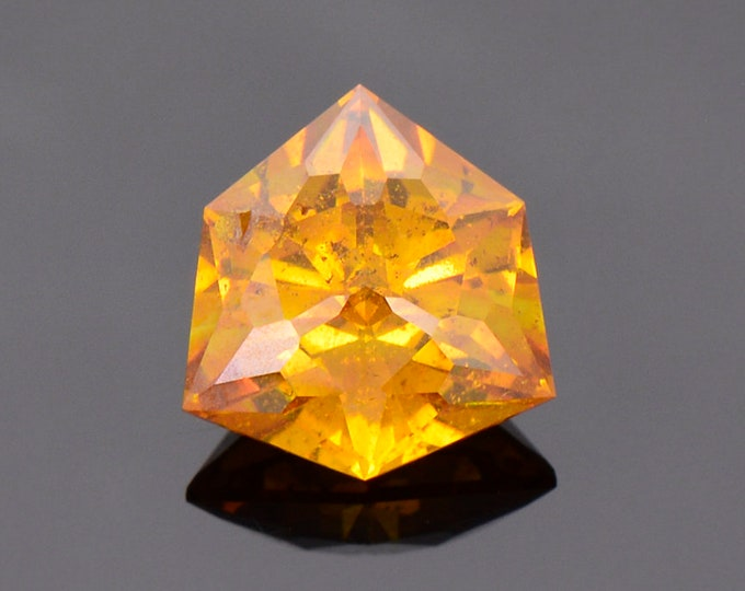 Gorgeous Orange Sphalerite Gemstone from Spain, 3.62 cts., 9.9 mm., Hard Trillion Shape