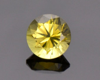 SALE! Brilliant Yellow Chrysoberyl Gemstone from Sri Lanka, 1.19 cts., 6.2 mm., Round Brilliant Cut