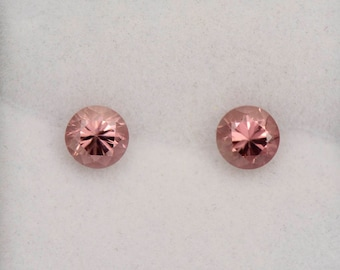 SALE! Brilliant Pink Champagne Zircon Gemstone Match Pair from Tanzania 1.53 tcw.