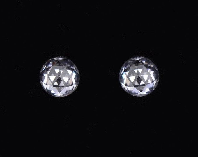 Brilliant Bright White Zircon Gemstone Match Pair, 1.36 tcw., 5.1 mm., Dutch Rose Cut