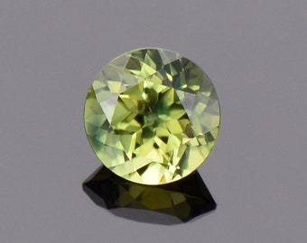 SALE! Excellent Yellow Green Sapphire from Australia, 1.11 cts., 6 mm., Round Brilliant Cut