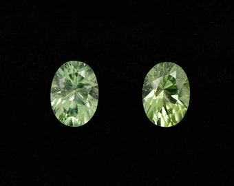 SALE! Brilliant Minty Green Peridot Gemstone Match Pair, 1.96 tcw, 7 x 5 mm, Concave Cut Ovals