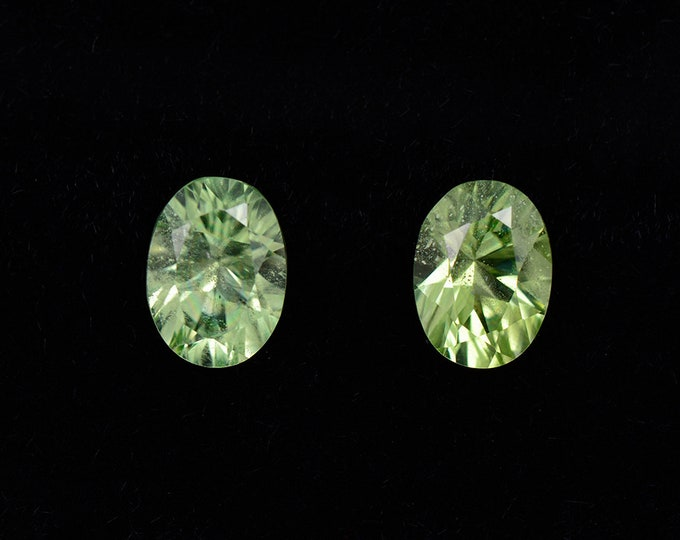 Brilliant Minty Green Peridot Gemstone Match Pair, 1.96 tcw, 7 x 5 mm, Concave Cut Ovals