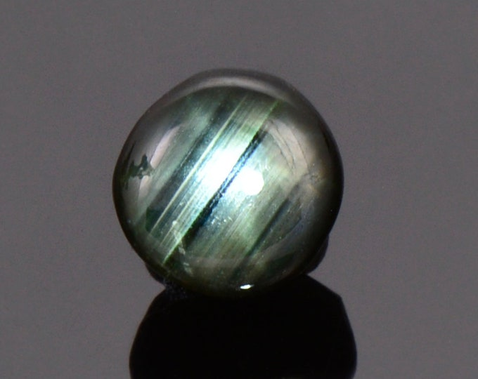 Black and Green Star Sapphire Cabochon from Thailand, 4.63 cts., 8.6 mm., Round Shape