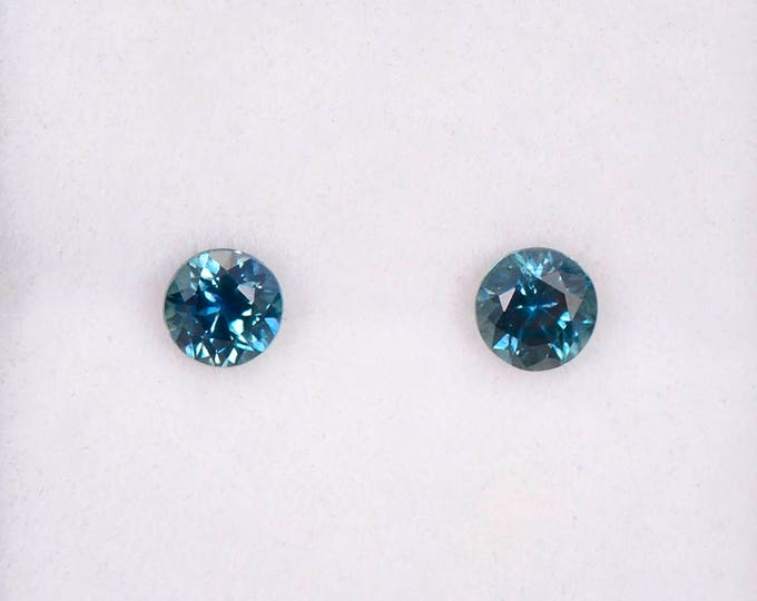 Stunning Blue Green Sapphire Match Gemstone Pair for Earrings, 4 mm, Rounds, 0.82 tcw.