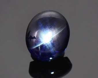 SALE! Black and Blue Star Sapphire Cabochon from Thailand, 5.98 cts., 11x9 mm., Oval Shape