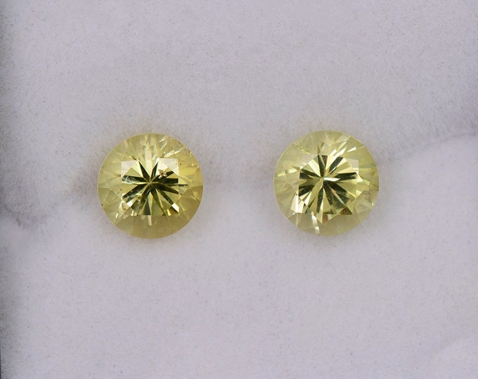 Stunning Yellow Green Chrysoberyl Gemstone Match Pair, 2.31 tcw., 6.2 mm., Round Brilliant Cut