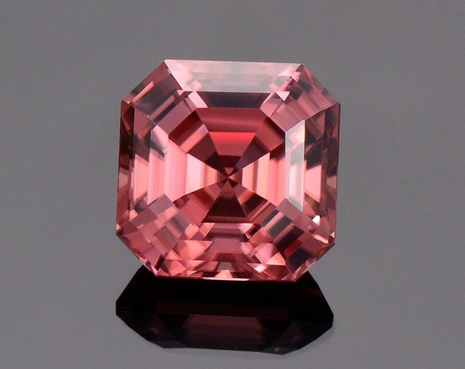 Superb Rose Pink Zircon Gemstone from Tanzania, 6.28 cts., 9.1 mm., Asscher Cut