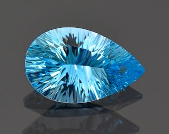 Stunning Blue Topaz Gemstone Concave Pear from Brazil 5.27 cts.