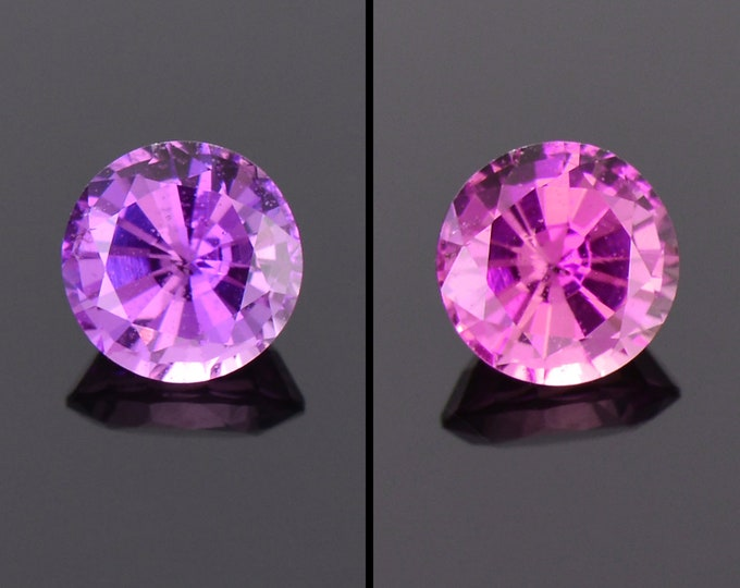 SALE! Excellent Color Shift Pink Sapphire Gemstone, 0.80 cts., 5.4 mm., Round Brilliant Cut