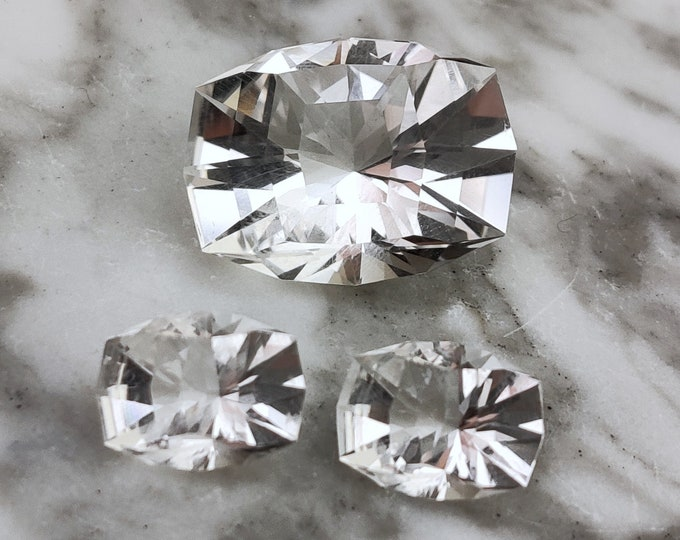 Brilliant Custom Cut Colorless Quartz Matched 3 Gem Set from Brazil
