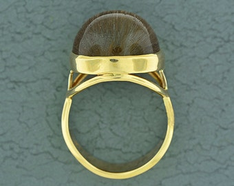 SALE! Unique Rutile and Quartz Cat's Eye Ring in 14kt Yellow/White Gold